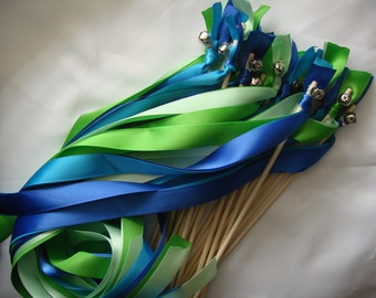 50 Wedding Wands Wood Personalized ceremony exit ribbon Bells Blue Streamers Bubbles Beach Ocean Mermaid Green Surprise Birthday Party Fall