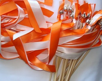 50 Summer Reception Wedding Wands Wood Personalized Sticks With Bells Streamers Orange Ivory White Bubbles Barn Farm Birthday Party Fall