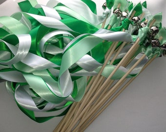 50 Wedding Wands Wood choose your colors Sticks With Bells Irish Streamers Bubbles st Patricks day shamrocks Birthday Yellow silver Party