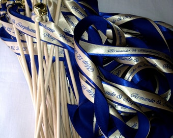 50 Personalized  Wedding Wands Sticks Bells Fall Outdoor Nautical Something Blue Beach Navy Farm Barn Ocean Streamers Bubbles Birthday Party