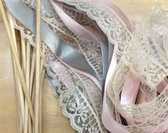 50 Wedding Wands Lace Ribbon Streamers Birthday Party