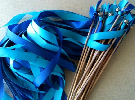 Wedding Wands  Set of 50 colors Sticks With Bells  Fall Outdoor Something Blue Beach Ocean Streamers Bubbles Birthday Party