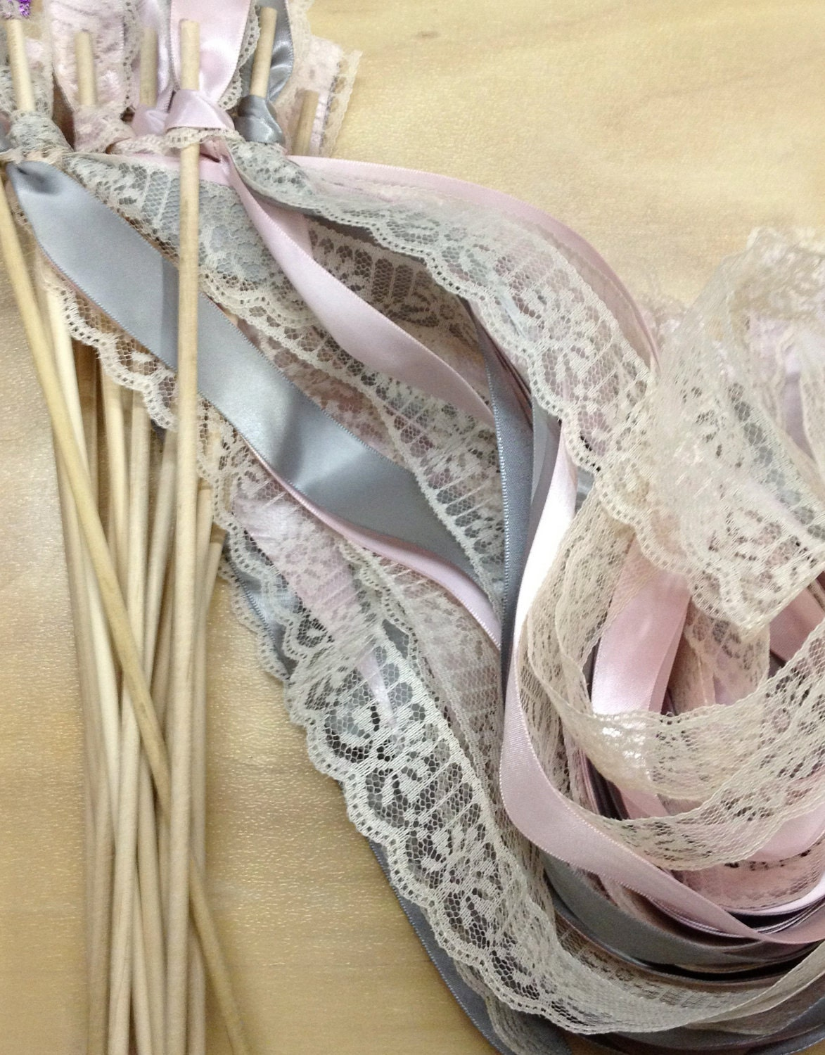 50 wedding wands lace ribbon streamers birthday party for Wedding wands