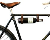 "Bicycle Wine Rack, Leather  - 1"" frame - brown"