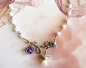 Romantic beaded branch Necklace,resin flowers,branch flower,brass bird,great holiday gift