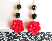 Red Black dangled Earrings-Great Gift for the Holiday season,Weddings and bridal Gifts FREE SHIPPING