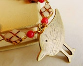 Bird Necklace Vintage Style, Antique Finish Glass Beads, Red Beads, Great for all Occasions