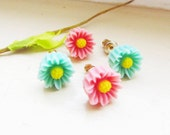Set of two flower post earrings, resin flowers, seafoam and pink flower post earrings