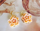 Flower earrings, Simple and Romantic Earrings, peach, gold plated wire hook, great gift for holiday