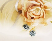 Romantic Flower earrings, Simple yet pretty, dusty blue, gold plated wire hook, great gift for holiday