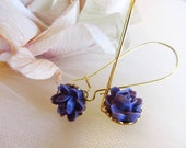 Sweet Purple Flower LONG  Earrings  4tasteofshabbychic