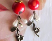 Pretty unique red  earrings, Egyptian distinguish red beads , antique bronze leaf, weddings.