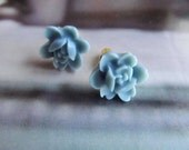 Soft Blue flower Posts Earrings-Feminine Pretty-Sweet 16-Great Gift- weddings, bridal party