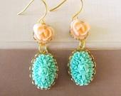 Lovely Flower Earrings - Feminine Pretty -Great Gift