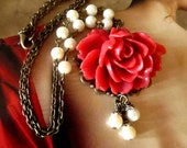 Red Rose Resin Flower Necklace, Feminine Pretty, Off white pearls, antique brass setting, Great Gift