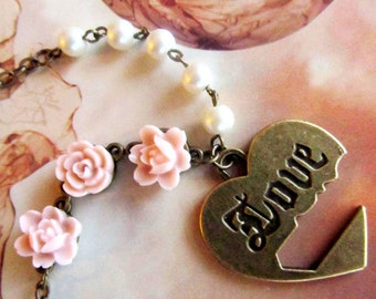 LoVE Heart necklace, Antique vintage bronze Heart, Romantic necklace, pink resin flowers, white pearl.