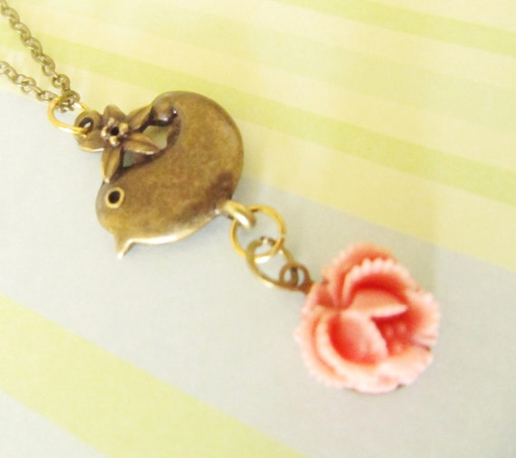 Bird Rose Necklace, lovely vintage style necklace, resin cabbage rose, antique brass chain
