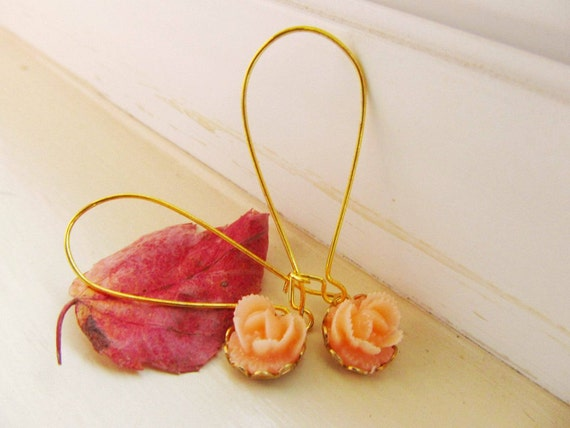 Peach floral rose Earrings, great gift for sweet 16, gift for the holiday FREE SHIPPING