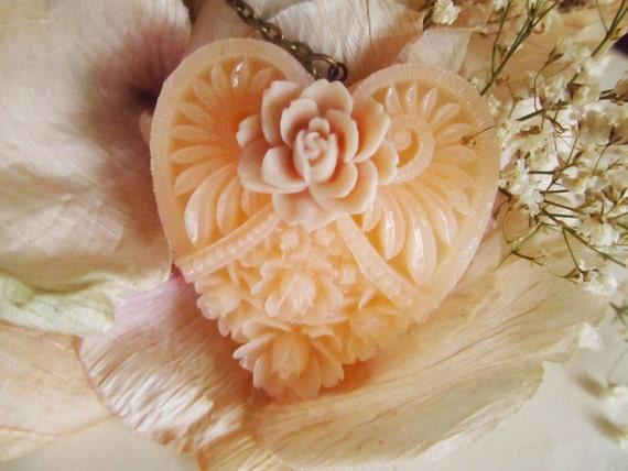 Valentine Light Pink Floral Heart necklace-Valentine- Birthday Gift