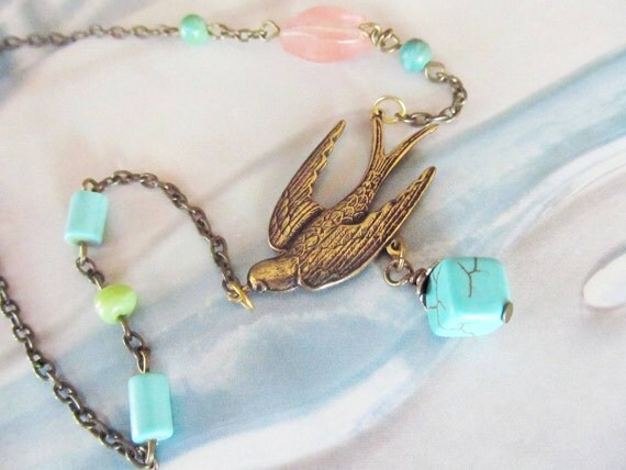 Swallow Brass Necklace, antique finish, turquoise beads, Brass dove, lovely gift