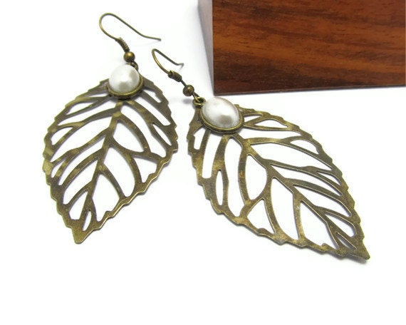 Delicate Brass Leaf Earrings, Dead Leaves Fall, off white oval pearls. great gift