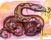 LSD snake Original ACEO 2 1/2 x 3 1/2