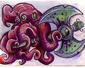 Kraken AXE ACEO 2 1/2 x 3 1/2