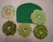 Crochet Hat and Interchangeable flower combo