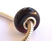 Baltic Amber European Charm Bead Cherry Black Charm Bracelet Silver