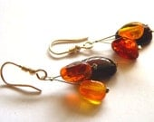 Baltic Amber Multicolored Nugget Silver Earrings 1.6 IN