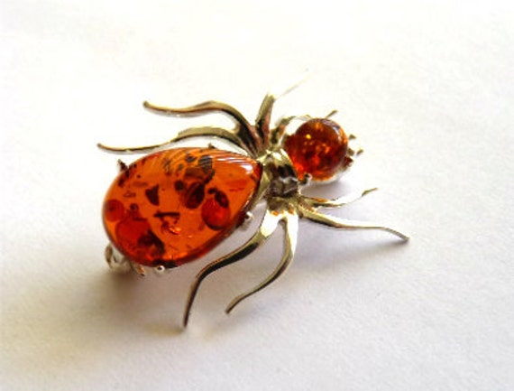 Baltic Amber Spider Pin Brooch 925 silver