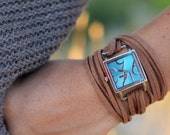 Brown Suede Bracelet Watch with Small Turquoise Interchangeable Face
