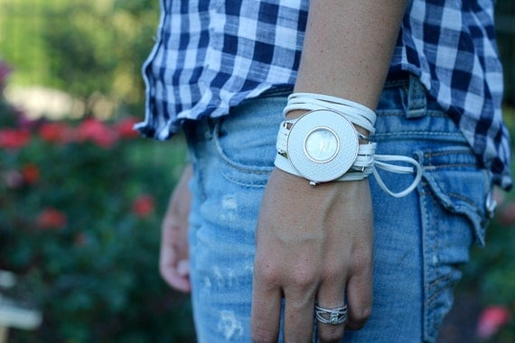 Custom White Suede Bracelet Watch with White Interchangeable Face