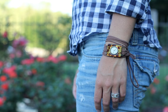 Brown Suede Bracelet Watch with Tortoise Interchangeable Face