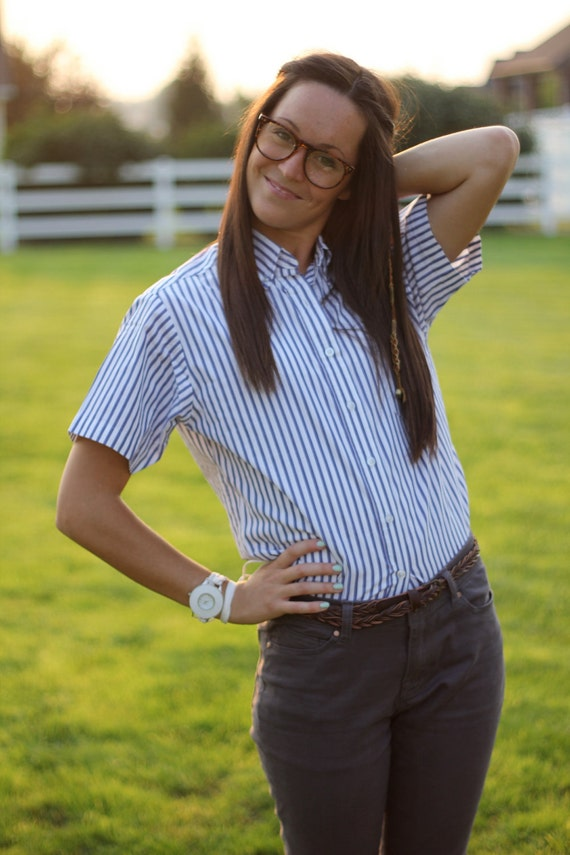 Vintage Women 39 S Blue And White Striped Button Up Shirt