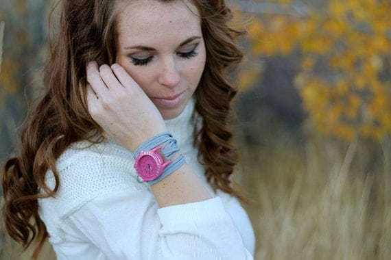 SALE Suede Wrap Watch with Pink Inspirational and Interchangeable Face