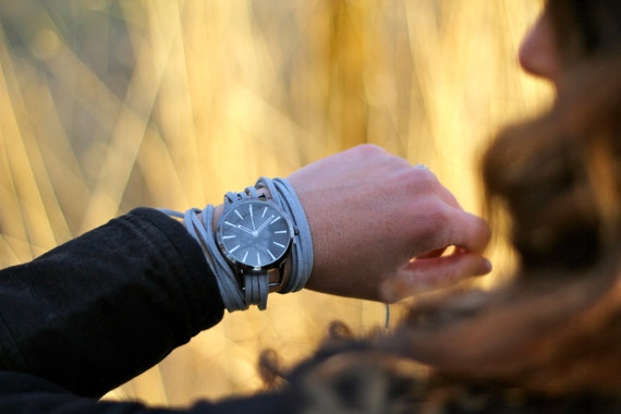 Gray Suede Bracelet Watch with Black Contemporary Interchangeable Face