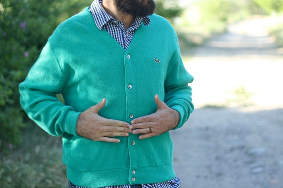 Vintage Men's Izod Lacoste Sweater in Turquoise Green Size Large