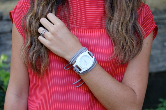 Gray Suede Bracelet Watch with White Contemporary and Interchangeable Face