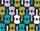Michael Miller Fabric, Groovy Guitar in Lagoon, 1 yard
