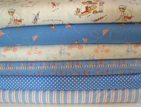 Children at play by sarah jane 1 2 yard fabric bundle 6 for Childrens fabric bundles
