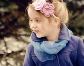 Ivory Covered Metal Headband with handmade Pink Rose, Old Rose Flower and Brown Leaf -