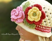 All Sizes available Bucket Style Beanie crocheted sun hat Soft Ecru with Flower and accent stripes in rose, buttercup, sage, and country red