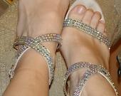 Vintage Colin Stuart Shoes High Heel Strappy Sandals with Aurora Borealis Detail, SZ 10