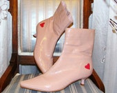 Vintage 90s Patent Leather Kitten Heel Boots in Pink with a Heart by Town Shoes, SZ 7 Womens Pointed Toe Fall Fashion Back to Schol