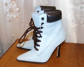 Vintage Suede Boots with Lace Up Granny Fronts Stilleto Heel and Black Leather Cuff in Softest Blue Fab Victorian Style Womens Boot