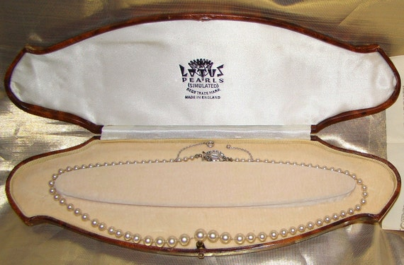 Vintage Lotus Simulated Pearl Necklace With Silver Clasp Boxed