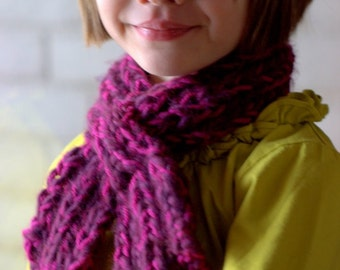 Scarf Knitting Pattern: Child's Looped Scarflette (INSTANT PDF DOWNLOAD)