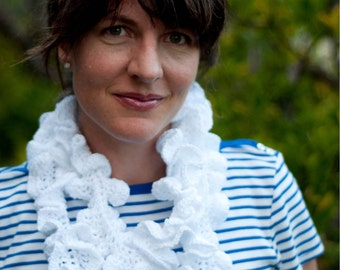 Scarf Pattern: Crochet Ruffled Summer Scarf (PDF)