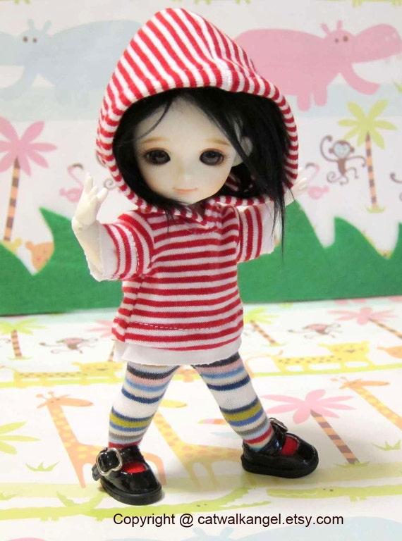 Lati / PUKIFEE Hoodie --- Red and White Stripes Hoodie for Lati Yellow doll / PUKIFEE